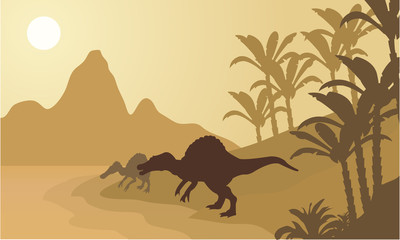 Spinosaurus in river silhouette scenery
