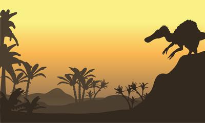 spinosaurus in hills scenery