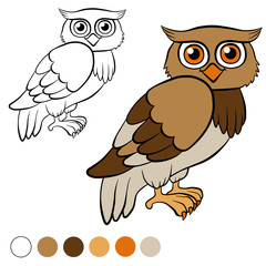 Coloring page. Color me: owl. Little cute owl.
