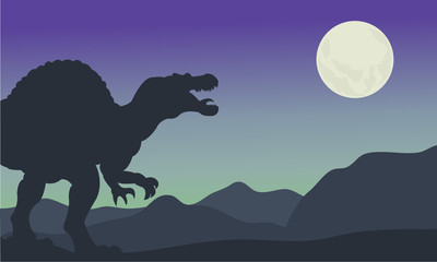 Silhouette of spinosaurus at the night