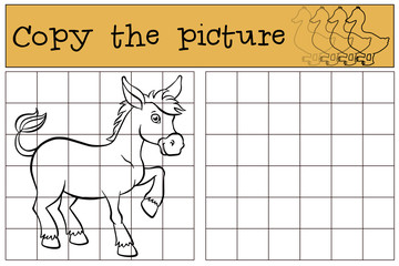 Children games: Copy the picture. Cute little donkey stands and