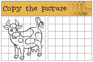 Children games: Copy the picture. Cute spotted cow stands and sm