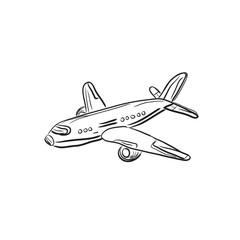 airplane, design element, sketch, vector illustration