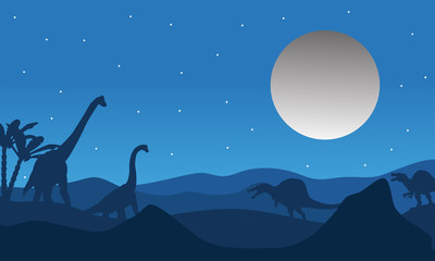 Silhouette of dinosaur with moon