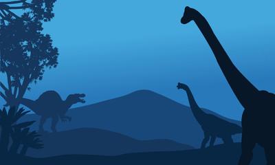 Silhouette of brachiosaurus and spinosaurus