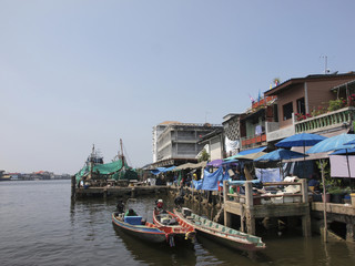 The fishing boat parking at the fishery harbor in southern Thail