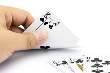King and ace clubs of poker game