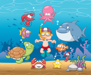Vector illustration of Snorkeling boy under the sea