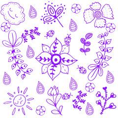 purple flower of doodle art