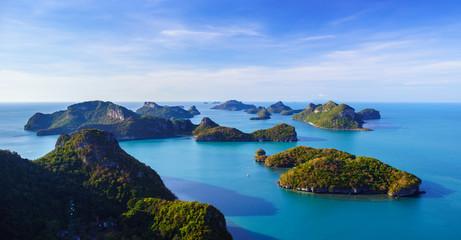 Bird eye view of Angthong national marine park, koh Samui, Thail