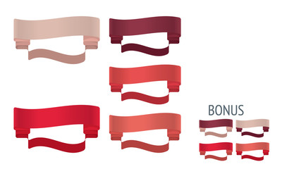 Red Ribbons Vector. Set of design elements banners ribbons.