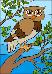 Cartoon birds for kids. Little cute owl sits on the tree branch