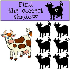 Children games: Find the correct shadow. Cute spotted cow stands