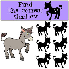 Children games: Find the correct shadow. Little cute donkey stan