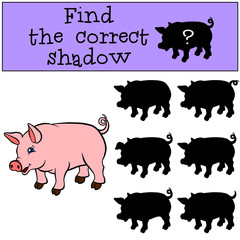 Children games: Find the correct shadow. Little cute pig stands