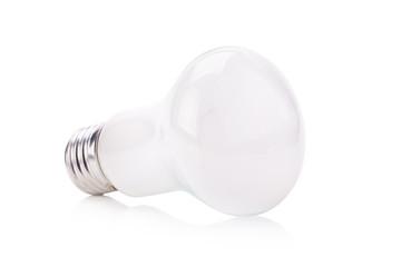 Incandescent matt white light isolated on white background