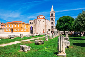 Church of st. Donat, a monumental building from the 9th century with historic roman artefacts in foreground in Zadar, Croatia