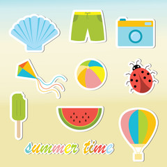 Summer time colorful stickers set: travel, vacation.  Design elements for scrapbook. Isolated elements. Vector illustration.