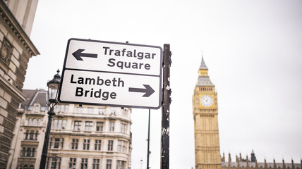 London sign street. Trafalgar Square and Lambeth Bridge, London, UK
