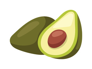 Avocado pieces set isolated on white background design element organic food vector.