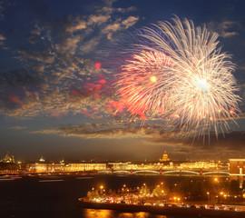 fireworks over Neva river scape. Saint Petersburg, Russia. Travel background