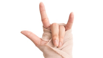 hand with bandage in white background