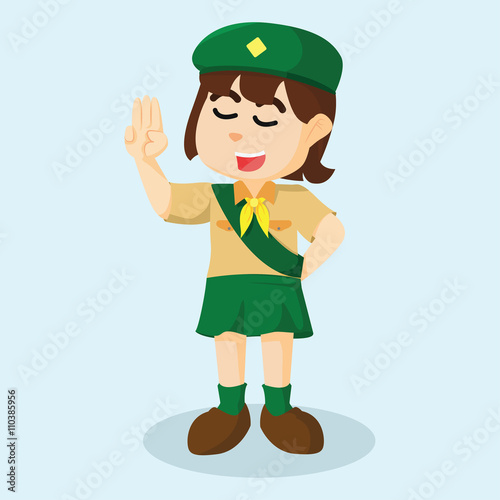 girl scout salute stock image and royalty free vector