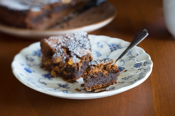 Macro shot of moist fudgy chocolate brownies. Selective focus.