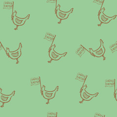 Easter seamless pattern with chicken