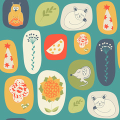 Seamless pattern from hand-drawn children's pictures.