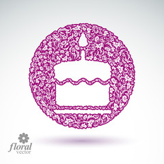 Vector burning wax candle, flower-patterned illustration