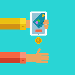Pay and receive money using mobile devices.