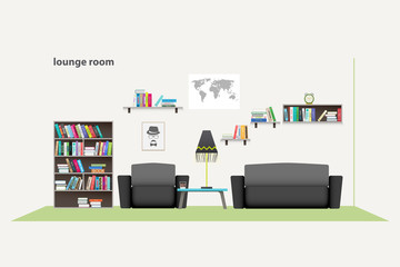 contemporary living room with furniture isolated on white background. vector, flat style relaxing interior. stylish lounge room illustration. lifestyle concept, luxury apartment decoration
