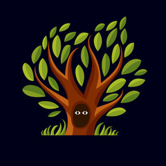 Vector art illustration of branchy tree with den. T