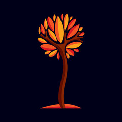 Artistic stylized natural design symbol, decorative beautiful tree