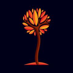 Artistic stylized natural design symbol, decorative beautiful tree
