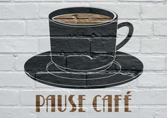 Art urbain, tasse de café
