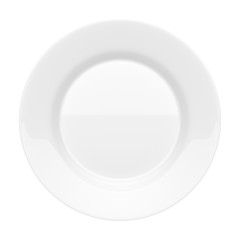 Empty ceramic round plate isolated on white