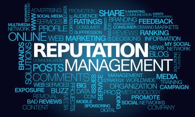 Reputation management web e-reputation fame words tag cloud blue text