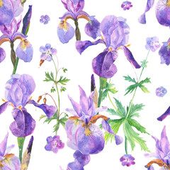 Watercolor floral seamless pattern with irises
