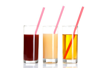 glass glasses with juice on white isolated background