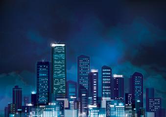 Vector night cityscape.