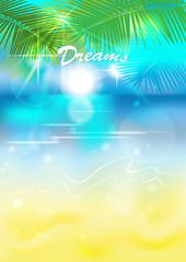background beach-palm-dream.vector illustration