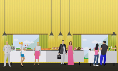 Vector set of banners with restaurant interiors. Smorgasbord buffet party