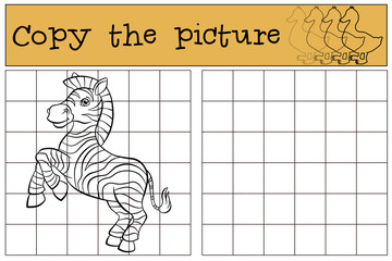 Children games: Copy the picture. Little cute zebra.