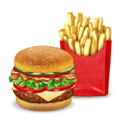 Cheeseburger and French fries. Hand-drawn illustration, digitally colored.