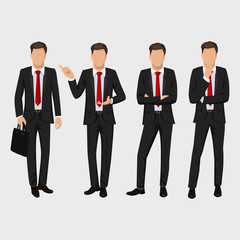 Business man set. Vector collection of full length portraits of business man. Elegant businessman in a suit and tie