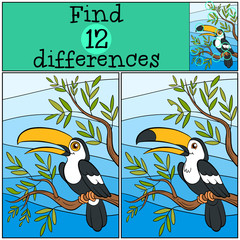 Children games: Find differences. Cute little toucan.