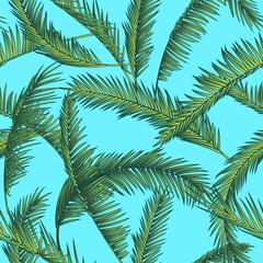 Tropical leaves, dense jungle. Seamless botanical pattern. Vector background.
