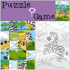 Children games: Puzzle. Little cute zebra.